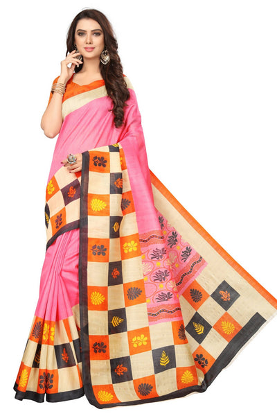 16TO60TRENDZ Pink Color Printed Bhagalpuri Silk Saree $ SVT00448