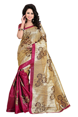16TO60TRENDZ Gold Color Printed Bhagalpuri Silk Saree $ SVT00514