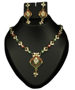 Kriaa gold, green and red necklace with earring
