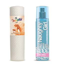 BEAUTIFUL TALC 250gm PLEASING & Naughty Girl CRYSTAL 135 ml (Set of 2 for Women)