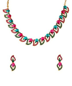 Kriaa gold, pink and green necklace with earring