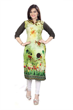 Manvi Fashion Women's Designer Partywear Multi Color American Crepe Fabric Digital Printed Readymade Kurti $ MF 2838