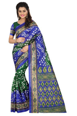 16TO60TRENDZ Blue Color Printed Bhagalpuri Silk Saree $ SVT00433