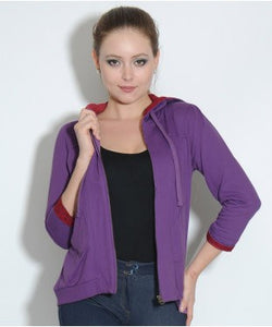 Elle Purple Hooded Sweat Shirt