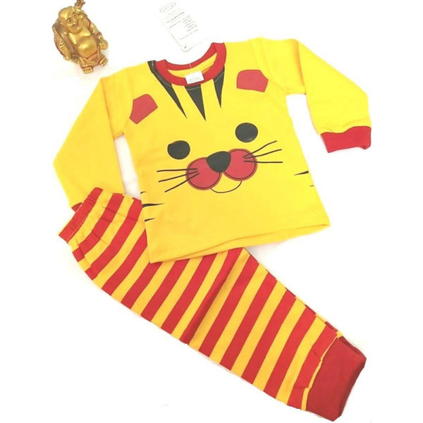 Tiger Printed Bear Top & Bottom Set For Baby KidsYellow & Red $ CP-KA29