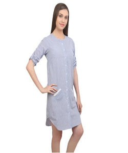 REDPOSE BLUE STRIPES DRESS WITH LACY POCKETS
