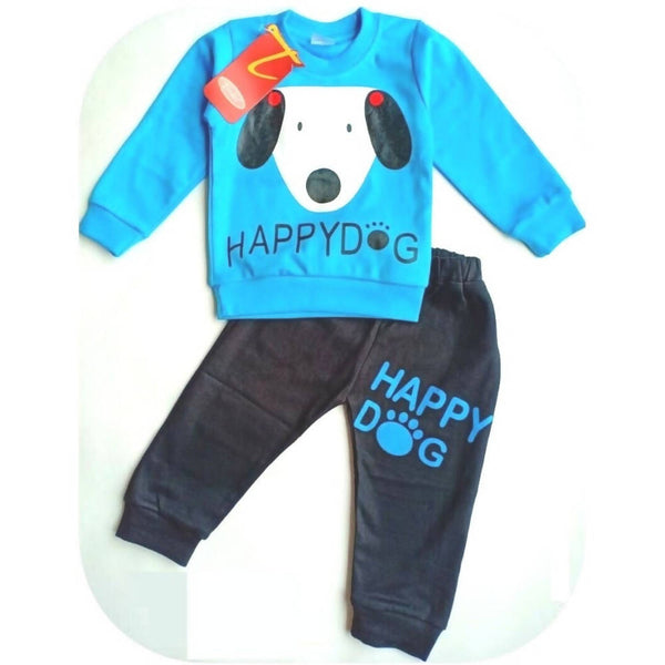 Cute Dog Printed Bear Twin Set Little Boy Girl Two Piece Set Tshirt & Pant for Baby Kids_Blue & Black $ CP-KA24