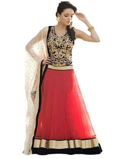 Muta Fashions Women's Semi Stitched Banglori Silk Red Lehenga $ LEHENGA04