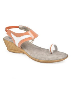 Nell light orange and white wedge heel sandal