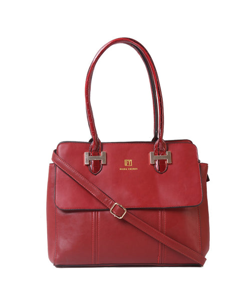Fiona Trends Maroon PU Shoulder Bag,103_MAROON