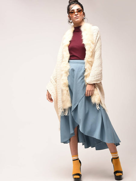 Aiyra Beige Color wollen Fur Trim Knitted Poncho $ AR15900882_free size