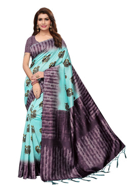 16to60trendz Turquoise Art Silk Printed Mysore Art Silk Saree $ SVT00202