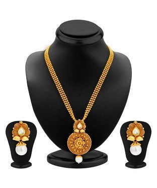 Sukkhi Graceful Gold Plated Kundan Necklace Set For Women