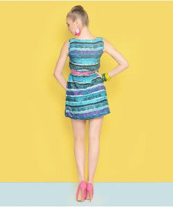COLORFUEL Teal Green and Multi SHORT DRESS