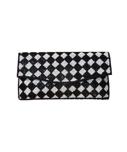 SA 003A Spice Art Black & White Beaded Clutch