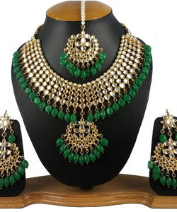 Aradhya Brass Jewel Set (Gold, Green)