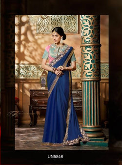 Umang NX Blue Georgette Designer Embroidery Sarees $ UN5846