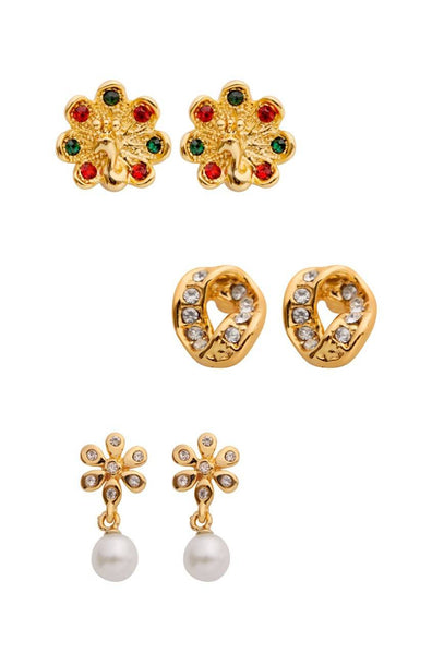 Gold Trio Set Earrings - JNFHTRS1671