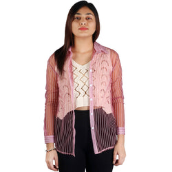 Fashiontiara Fancy Collection Of Net Stripted Button shirt with Woven design cotton knitted Off White crop Tops $ FTS23