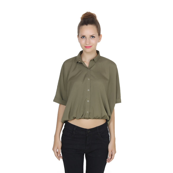 Second Half Green Loose Shirt-SH0007