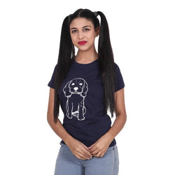 Second Half Navy Blue Top with Puppy Print-SH0052