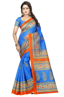 16TO60TRENDZ Blue Color Printed Bhagalpuri Silk Saree $ SVT00486