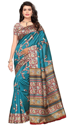 BL Enterprise Women's Bhagalpuri Cotton Silk Kalamkari Blue Color Saree With Blouse Piece $ BLLB-18
