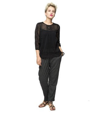 American Swan Black 3/4 Slv Top