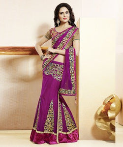 Net & Satin Lehenga Saree with Blouse