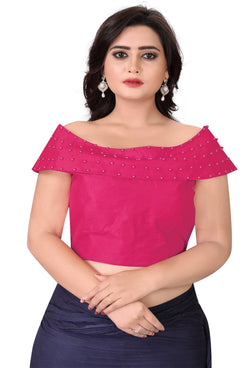 YOYO Fashion Pink Fantom Solid Extra Sleeve With Blouse $ YOYO1-BL4006-Pink