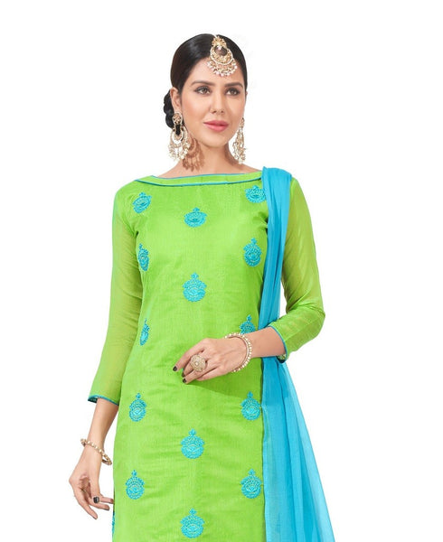 DnVeens Chanderi Embroidered Salwar Kameez Suit Set Dress Materials for Women $ BLGNGITCT05