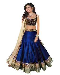 Muta Fashions Women's Semi Stitched Bangalory Cotton Blue Lehenga $ LEHENGA56