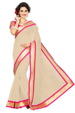 16to60trendz Beige Chanderi Lace Work Chanderi Saree $ SVT00077