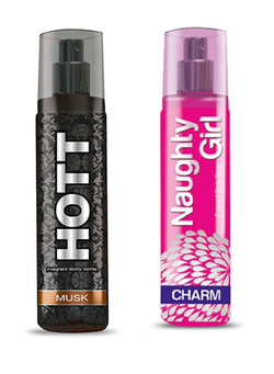 HOTT Mens MUSK & Naughty Girl CHROME- (Set of 2 Perfume for Couple) (135ml each)