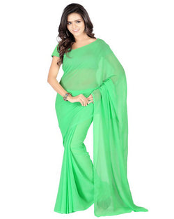 Muta Fashions Women's Unstitched Georgette Green Saree $ MUTA216