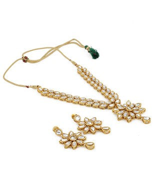 Aradhya Brass, Metal, Cotton Dori, Stone Jewel Set (White, Gold)