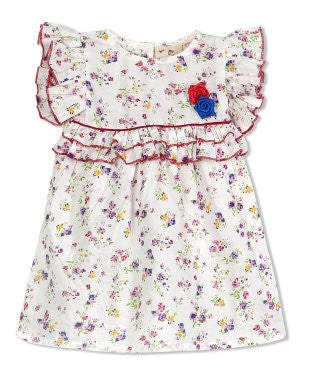 Budding Bees Girls Infant White Floral Fit & Flare Dress