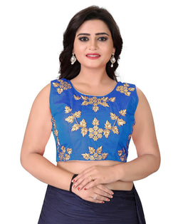 YOYO Fashion Blue Silk Embriodered Extra Sleeve With Blouse $YOYO-BL4001-Blue