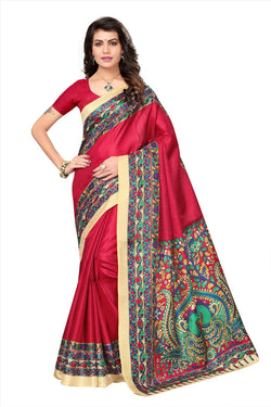 BL Enterprise Women's Bhagalpuri Cotton Silk Kalamkari Red Color Saree With Blouse Piece $ BLLB-28