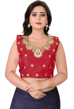YOYO Fashion Red Silk Embriodered Extra Sleeve With Blouse $ YOYO1-BL4004-Red
