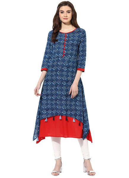 Mytri Women's Blue & Red Cambric Printed High Low Kurta $ 9000498-BLUERED