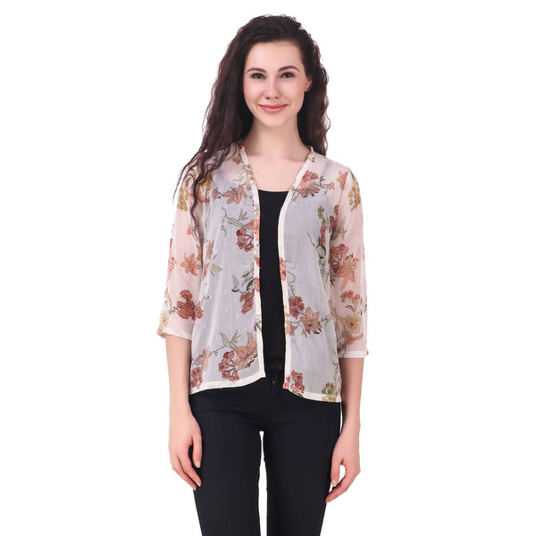 Fame 16 Three querter Sleeves Women's Cream Chiffon Floral Printed Shrugs $ F16-1600189