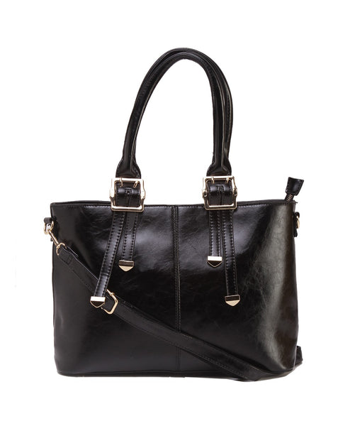Fiona Trends Black PU Shoulder Bag,100_BLACK