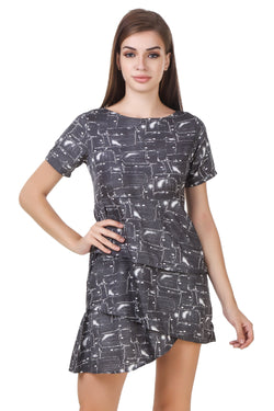 Fashians Black Half Sleeve Layered Dress $ FS-1700005