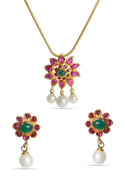 Bauble Burst Rich Ruby Pendant Set