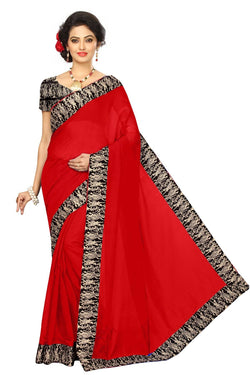 16to60trendz Red Chanderi Lace Work Chanderi Saree $ SVT00071