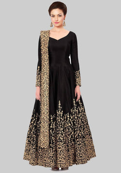 Manvi Fashion Women's Black Color Tafetta Silk Fabric Zari Embroidery Work Gown $ MF 2422