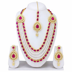 Gold Plated Alloy Metal Hand Crafted Work Women's Red Chhagan Necklace Set $ AF788619
