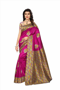 BL Enterprise Women's Bhagalpuri Cotton Silk Kalamkari Purple Color Saree With Blouse Piece $ BLLB-40