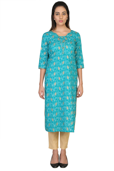Vaniya Women Cotton Kurta Green Straight Kurti $ VN-K101